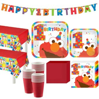 1st Birthday Elmo Party Kit for 32 Guests