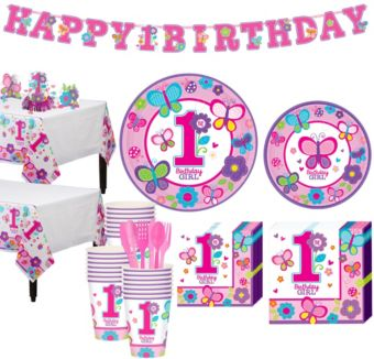 Sweet Girl 1st Birthday Party Kit for 38 Guests