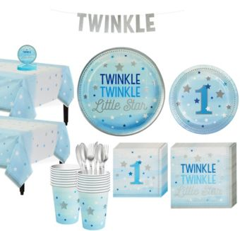 Blue Twinkle Twinkle Little Star 1st Birthday Party Kit for 16 Guests