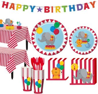Carnival 1st Birthday Party Kit for 16 Guests