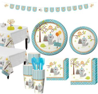 Boys Happi Woodland 1st Birthday Party Kit for 32 Guests