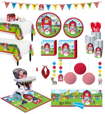 Farmhouse Fun 1st Birthday Deluxe Party Kit for 32 Guests