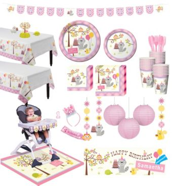 Girls Happi Woodland 1st Birthday Deluxe Party Kit for 32 Guests