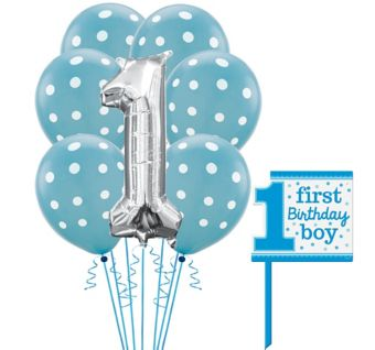 Blue 1st Birthday Yard Sign Kit with Balloons