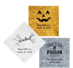 Personalized Halloween Embossed Damask Lunch Napkins