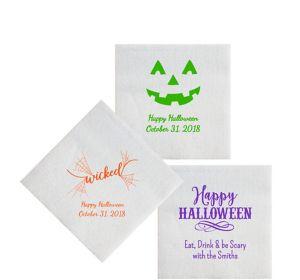 Personalized Halloween Luxury Deville Beverage Napkins