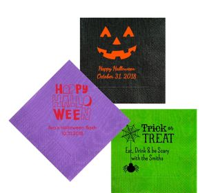 Personalized Halloween Moire Lunch Napkins