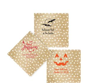 Personalized Halloween Small Dots Beverage Napkins