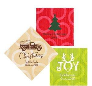 Personalized Christmas Circles Lunch Napkins