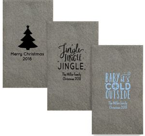 Personalized Christmas Tweed Print Guest Towels