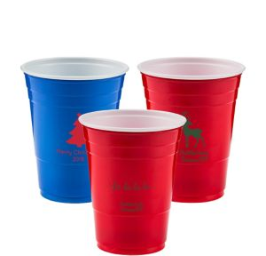 Personalized Christmas Solid-Color Plastic Party Cups 16oz