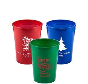 Personalized Christmas Plastic Stadium Cups 12oz