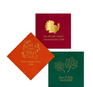 Personalized Thanksgiving Premium Beverage Napkins