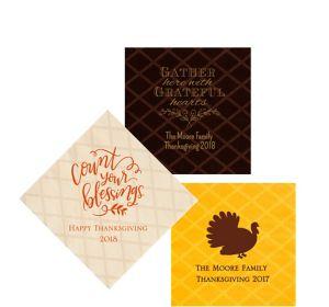 Personalized Thanksgiving Diamonds Beverage Napkins