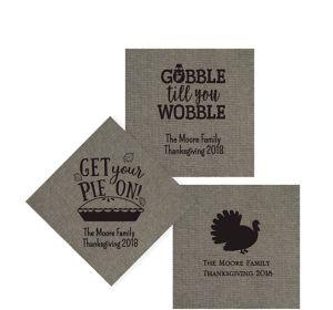 Personalized Thanksgiving Tweed Print Beverage Napkins