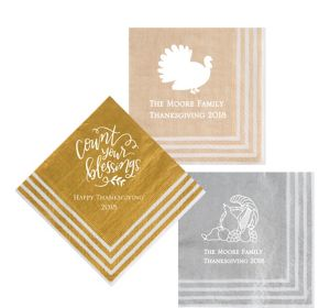 Personalized Thanksgiving Stripe Border Lunch Napkins
