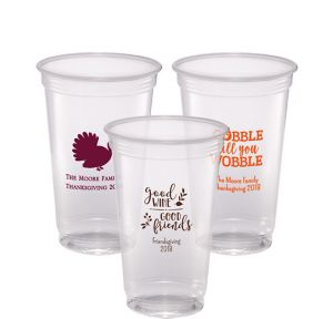 Personalized Thanksgiving Plastic Party Cups 20oz