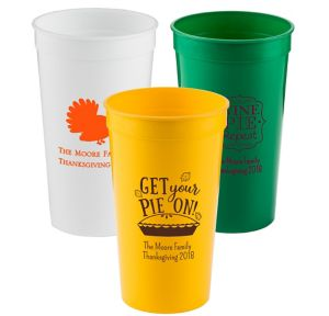 Personalized Thanksgiving Plastic Stadium Cups 32oz