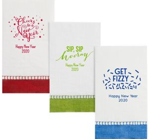 Personalized New Year's Bordered Guest Towels