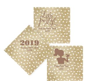Personalized New Year's Small Dots Lunch Napkins
