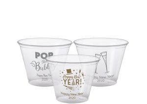 Personalized New Year's Plastic Party Cups 9oz