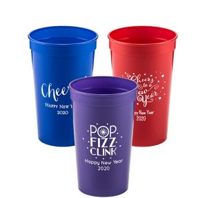 Personalized New Year's Plastic Stadium Cups 22oz
