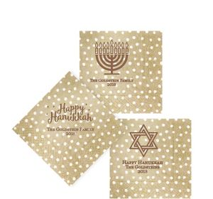 Personalized Hanukkah Small Dots Beverage Napkins