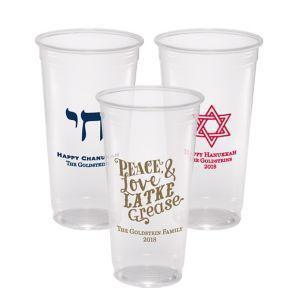 Personalized Hanukkah Plastic Party Cups 24oz