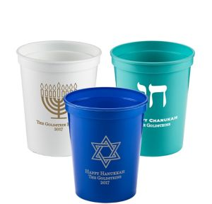 Personalized Hanukkah Plastic Stadium Cups 16oz