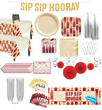 Sip sip hooray premium party kit for 32 guests party city for Sip kits