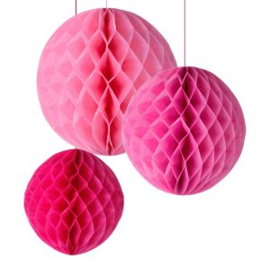 Pink Honeycomb Balls 3ct