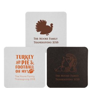 Personalized Thanksgiving 40pt Square Coasters