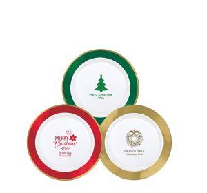 Personalized Christmas Premium Round Trimmed Dessert Plates