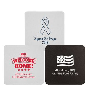 Personalized 4th of July 40pt Square Coasters