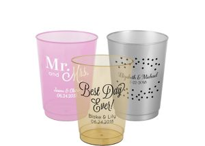 Personalized Wedding Hard Plastic Color Cups 10oz