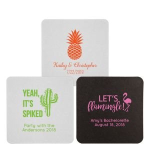 Personalized Wedding 40pt Square Coasters