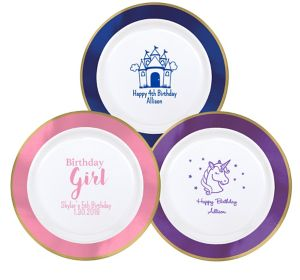 Personalized Girls Birthday Premium Round Trimmed Dinner Plates