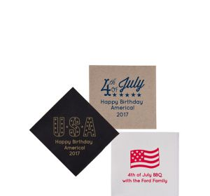 Personalized 4th of July Petite Beverage Napkins