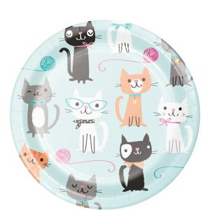 Purrfect Cat Dessert Plates 8ct