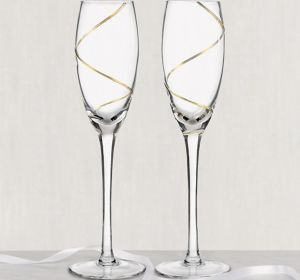 Gold Swirl Champagne Flutes 2ct