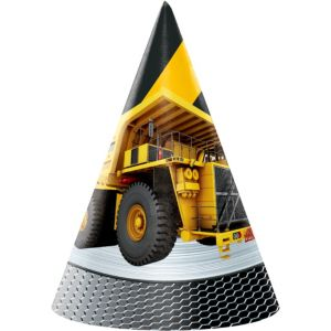 Construction Zone Party Hats 8ct