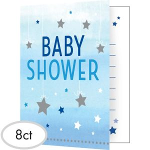 Blue Twinkle Twinkle Little Star Baby Shower Invitations 8ct