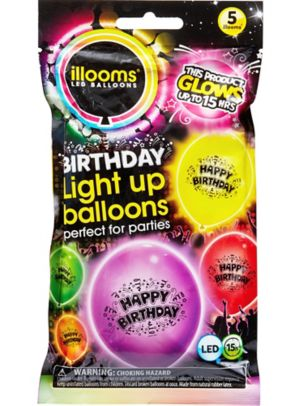 Illooms Light-Up Assorted Color Happy Birthday LED Balloons 5ct