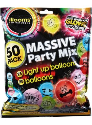 Illooms Massive Mix Assorted Color LED Balloons & Latex Balloons 50ct