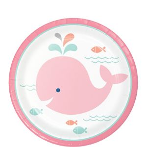 Pink Baby Whale Dessert Plates 8ct