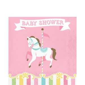 Pink Carousel Baby Shower Lunch Napkins 16ct