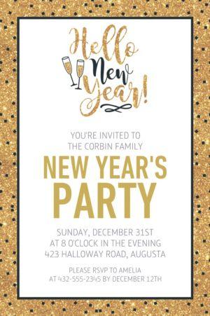 Custom Gold Glitter Hello New Year Invitations