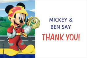 Custom Mickey & the Roadster Racers Thank You Notes