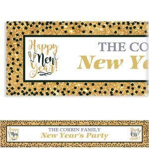 Custom Gold Glitter Hello New Year Banner