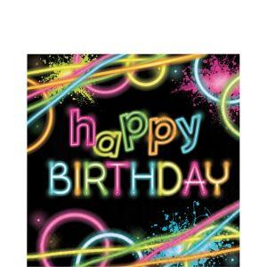 Neon Happy Birthday Lunch Napkins 16ct